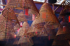 The incense spirals of Man Mo temple, Hong Kong